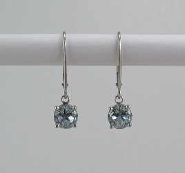 Earrings - leverback dangles with light blue Lone Star Cut topaz, 7mm