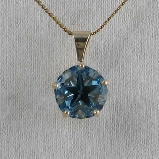 London blue/Dark blue topaz, Lone Star Cut, Pendant