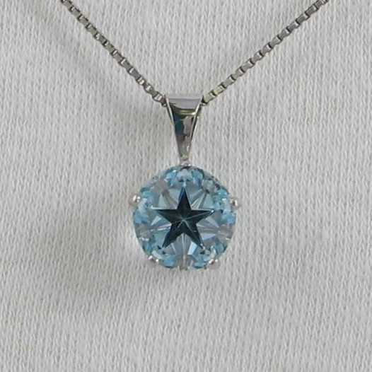 Blue Topaz Lone Star Cut Pendant 9mm