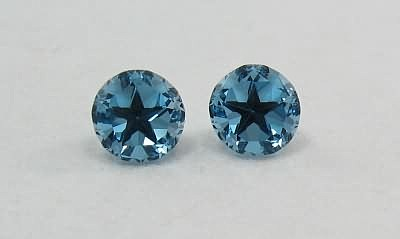 Matched Pair Lone Star Dark Blue Topaz