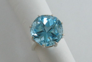 Large Lone Star Cut Blue Topaz Ring