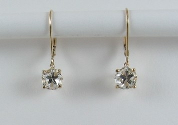 Earrings - leverback dangles with Mason County Texas Lone Star Cut topaz