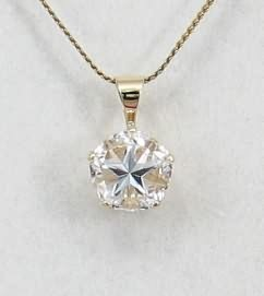 White Mason County Texas topaz Lone Star Cut - pendant in 14kt gold
