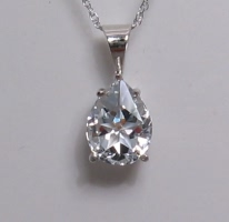 Pear shape Lone Star Cut Mason County Texas topaz in white gold pendant