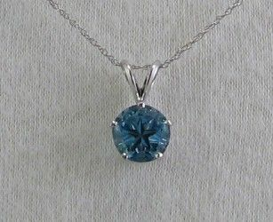 Lone Star Cut dark blue topaz,8mm, pendant