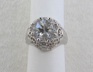 Filigree ring with large Mason County Texas topaz Lone Star Cut
